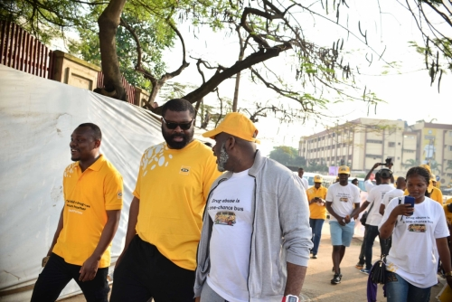 L-R: Lakinbofa Goodluck, Public Relations Officer, MTN Nigeria; Abasi-Ekong Udobang, Senior Manager, Program Implementation, MTN Foundation, and Kazeem Abimbola, Executive Director, Connect Marketing Services, joined in the walk too.