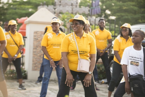 Dr. Titilayo Goncalves, Permanent Secretary, Ministry of Health, Lagos State, joined us for stretches before the Walk.